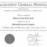 dr-nilesh-patel-allegheny-general-hospital-minimally-invasive-surgery-certificate
